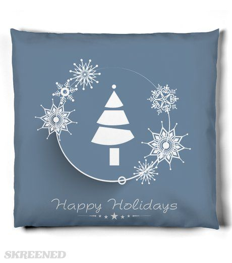 KRW Modern Snowflake Happy Holidays Pillow | Fanciful, lacy snowflakes surround a stylized Christmas tree on this lovely blue holiday pillow. #Skreened