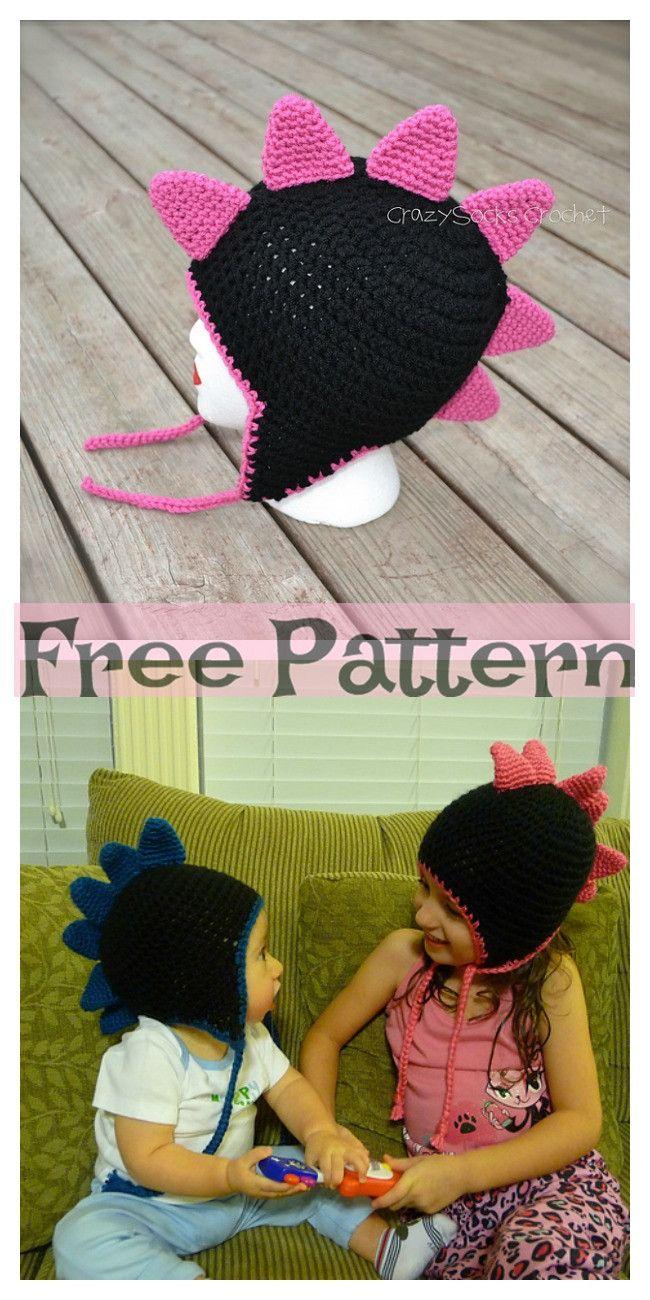 Crochet Dinosaur Spike Hat - Free Pattern #crochetdinosaurpatterns