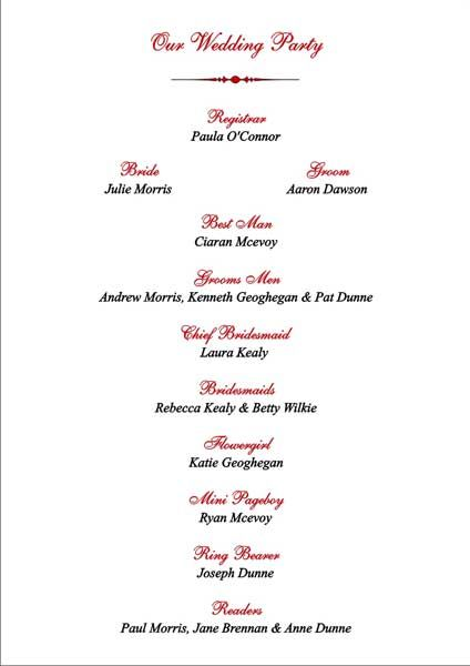 Brambles Wedding Stationery Order Of Service Pages Civil Ceremony