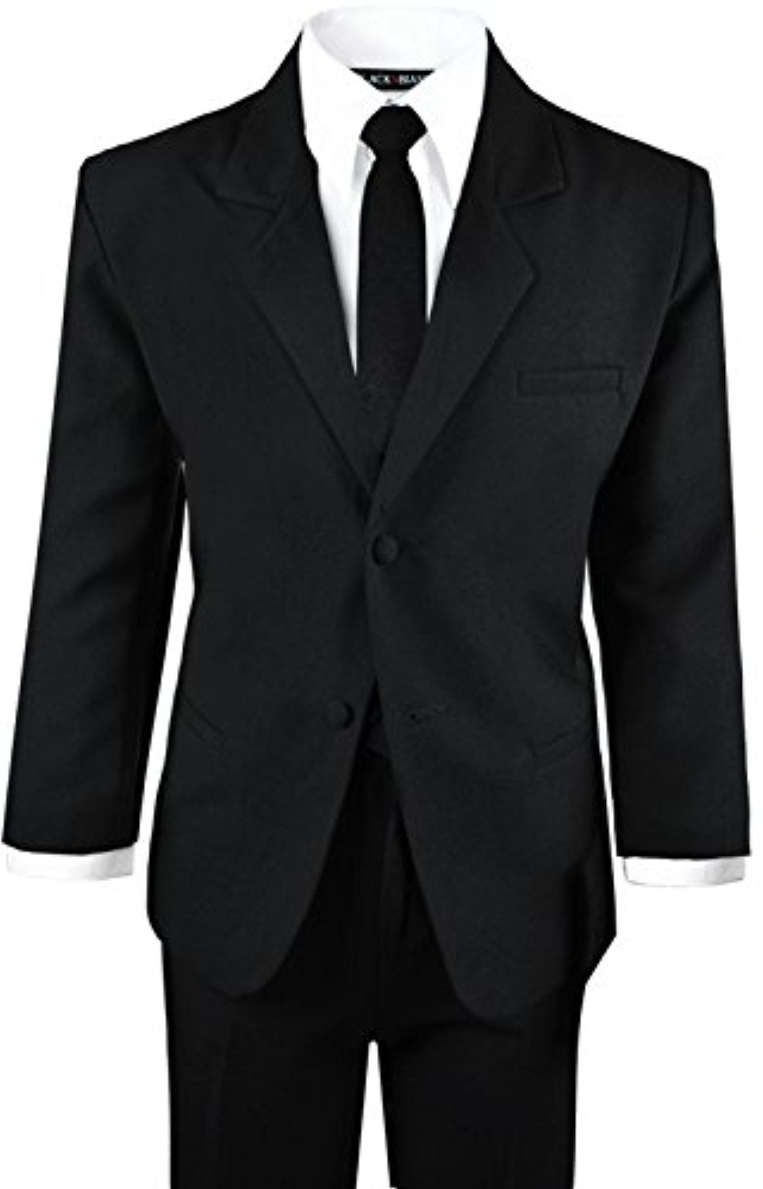Black N Bianco Boys Formal Black Suit with Shirt and Vest