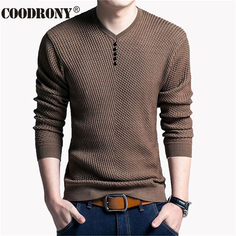 Suéter de Color sólido Hombres Con Cuello En V Hombres Suéter de Manga Larga  camisa Para