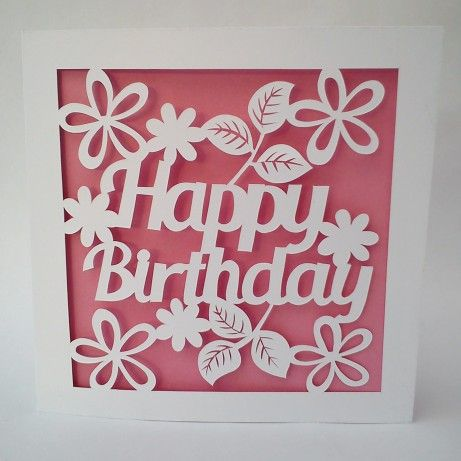 floral happy birthday papercut card template totally templates