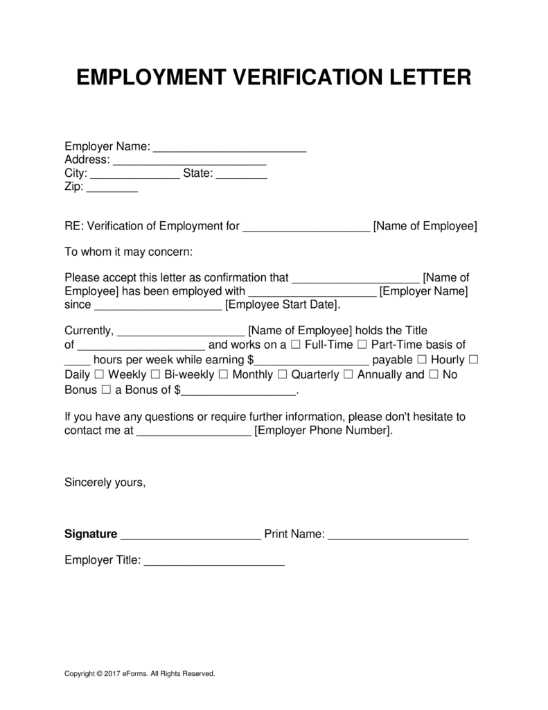 employment verification template word