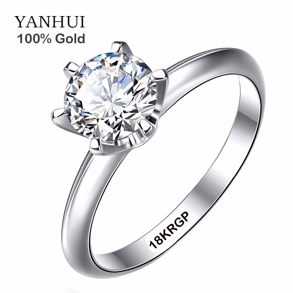 Font B Genuine B Font Real 18k White Gold Font B Ring B Font With 18krgp Logo 6mm Wedding Rings For Women Diamond Rings With Price White Gold Rings
