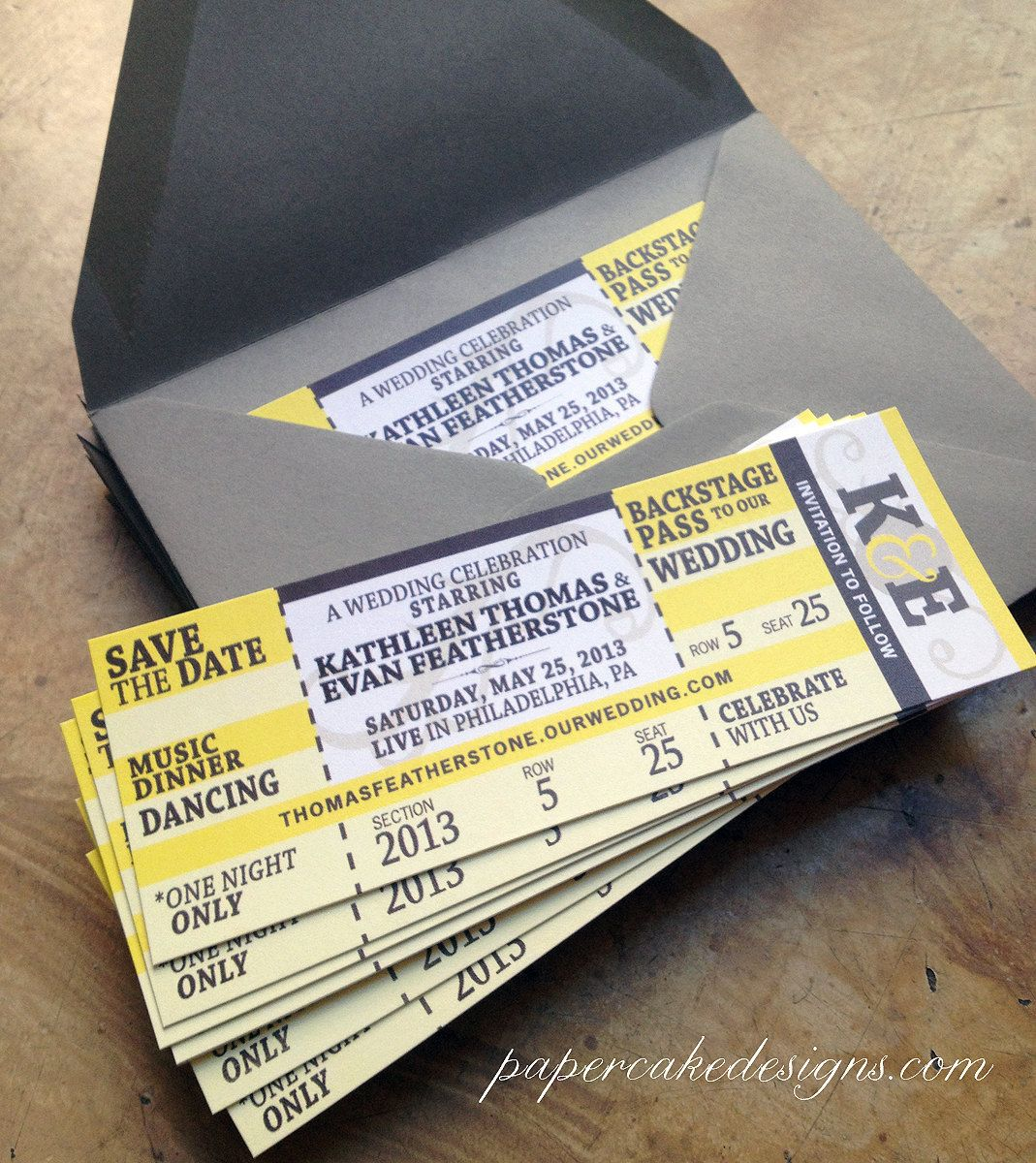 Concert Ticket Wedding Save The Date Or Invitation Birthday Party 200 Via Etsy