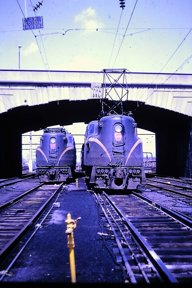 two GG1s in Harrisburg Pa in 1964.