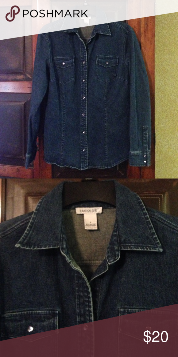 0de4521f70 HAROLD S Denim Shirt Blue jean long sleeved shirt   jazzy jeweled buttons    size S   98% cotton 2% spandex   shirt not included Harold s Tops