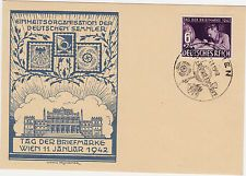 Nazi Germany 1942 Stamp Day Card Cancelled Wien Vienna