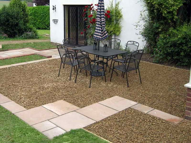 Exterior Small Pebble Stone In Simple Pebble Garden Ideas With Seating  Place And Square Pathways Plus