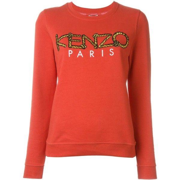 ab6521de Kenzo Kenzo Paris Rope Sweatshirt (1 855 SEK) ❤ liked on Polyvore featuring  tops, hoodies, sweatshirts, red, kenzo, red sweatshirt, red long sleeve  top, ...