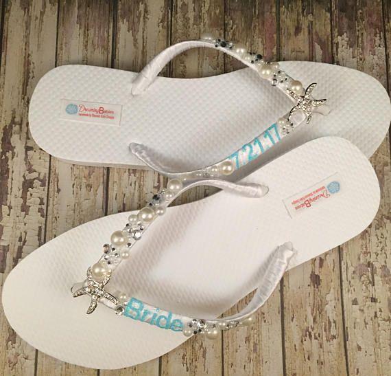 Shanna Personalized Bridal Flip Flops Starfish Custom I Do Sandals Beach Wedding Shoes