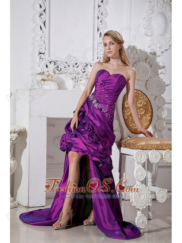 Cool Prom Dresses Purple Column Sweetheart Hand Made Flowers and ...