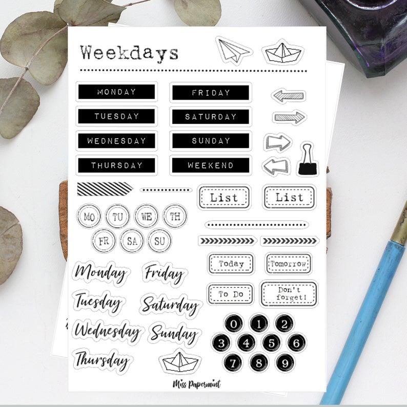 Weekdays In Vintage Look Sticker Planner Sticker Etsy Planner Stickers Etsy Filofax Stickers Planner Stickers