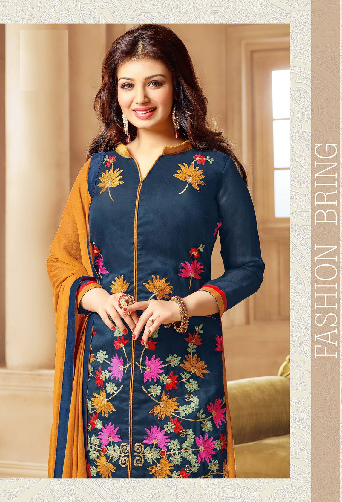 Beautiful Designer Dark Blue Cotton Salwar Suit | Salwar Suits ...