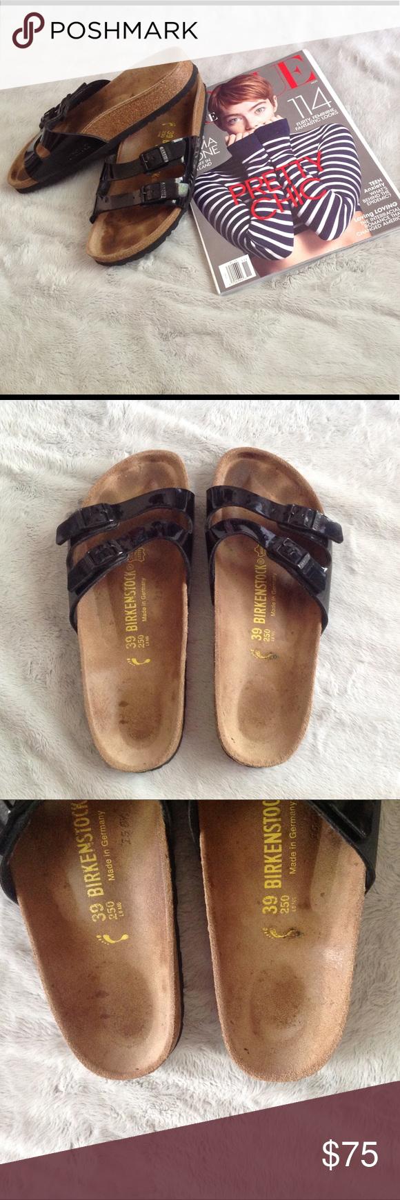 01c9afc8a135 Birkenstock Ibiza Sandals Black Patent Strap