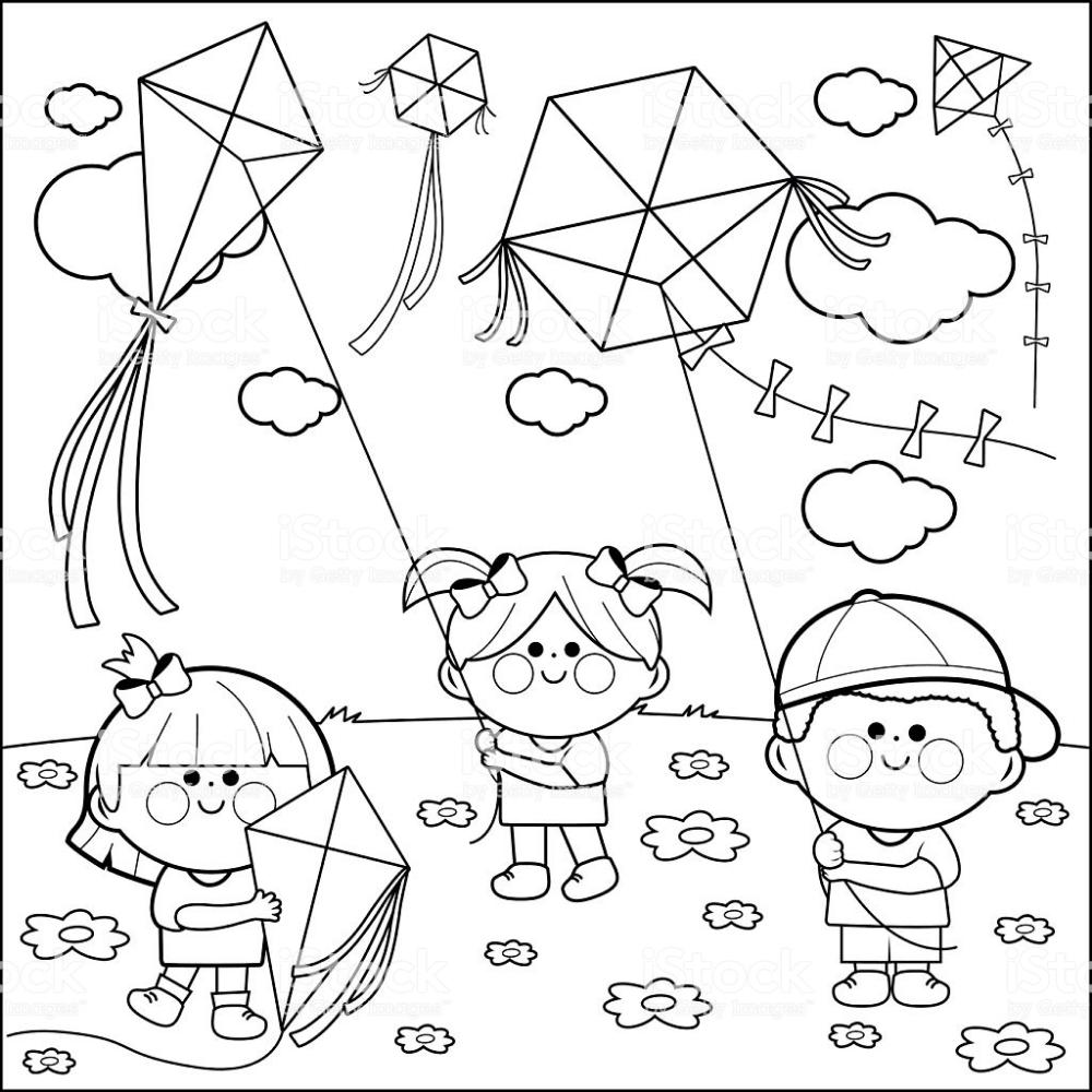Children Flying Kites Coloring Book Page Royalty Free Children Flying Kites Coloring Book Page Coloring Books Coloring Book Pages Black And White Illustration