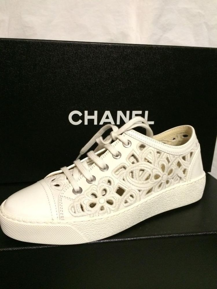 new concept 4291e 28774 CHANEL 14S Laser Cutout Flower Embroidered Lace Up Shoes Tennis Sneakers   995