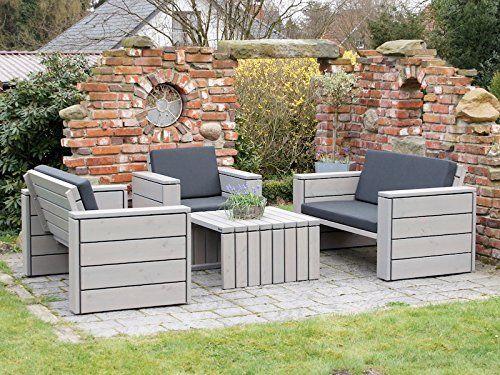 Amazon De Loungemobel Set 3 Holz Inkl Polster Lieferung Komplett Montiert Lounge Mobel Outdoor Dekorationen Aussenmobel