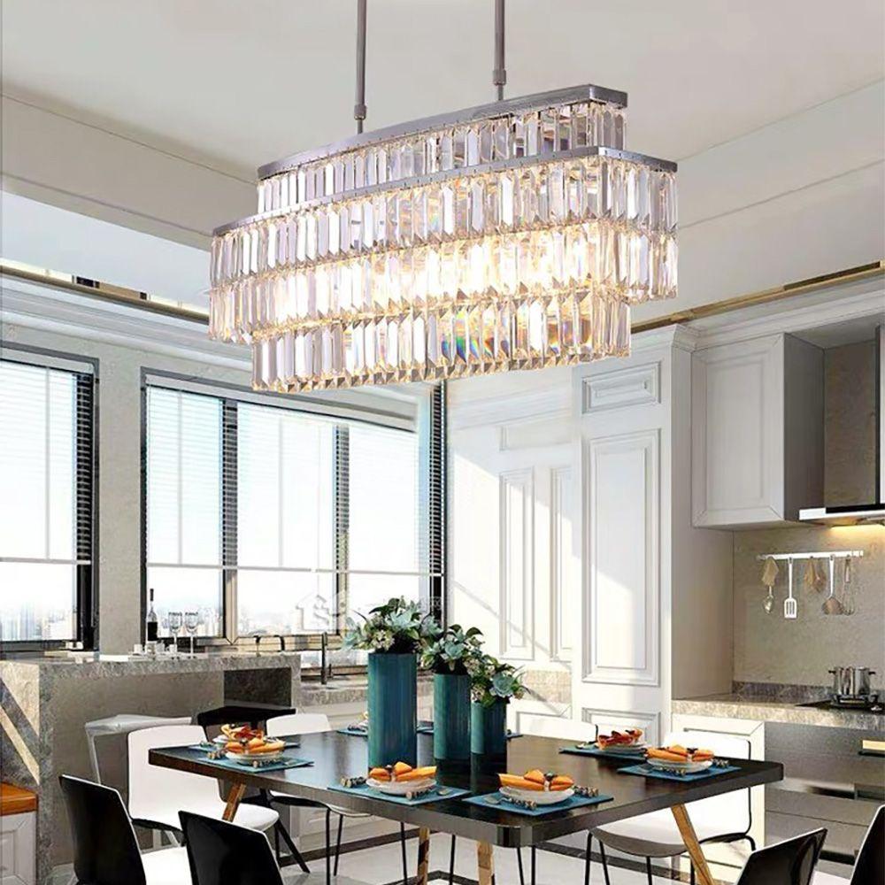 Modern Rectangular Crystal Chandelier Rod Type Pendant Light In 2020 Crystal Chandelier Dining Room Crystal Chandelier Chandelier