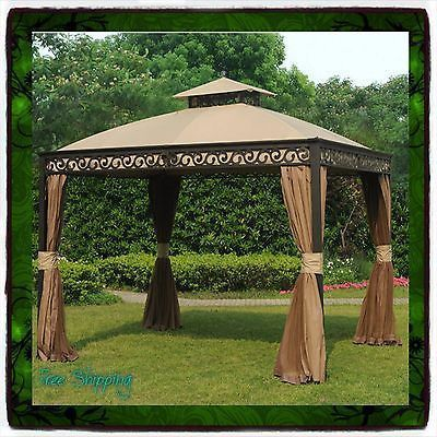 10 X 12 Gazebo Metal Steel Roof Outdoor Patio Aluminum Canopy Tent Party  Gazebos