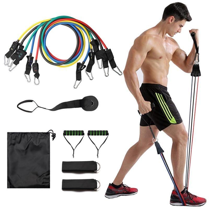 11 PCS Resistance Band Set Strength Training Exercise Fitness Tube Workout Bands