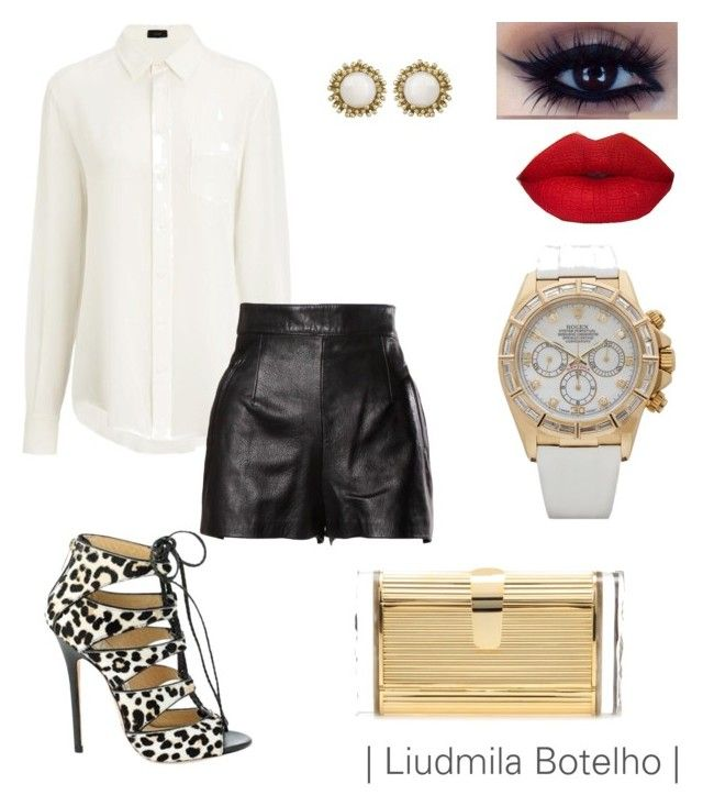 """Untitled #27"" by liudmila-botelho on Polyvore featuring Joseph, Moschino, Jimmy Choo, Edie Parker, Kendra Scott and Rolex"