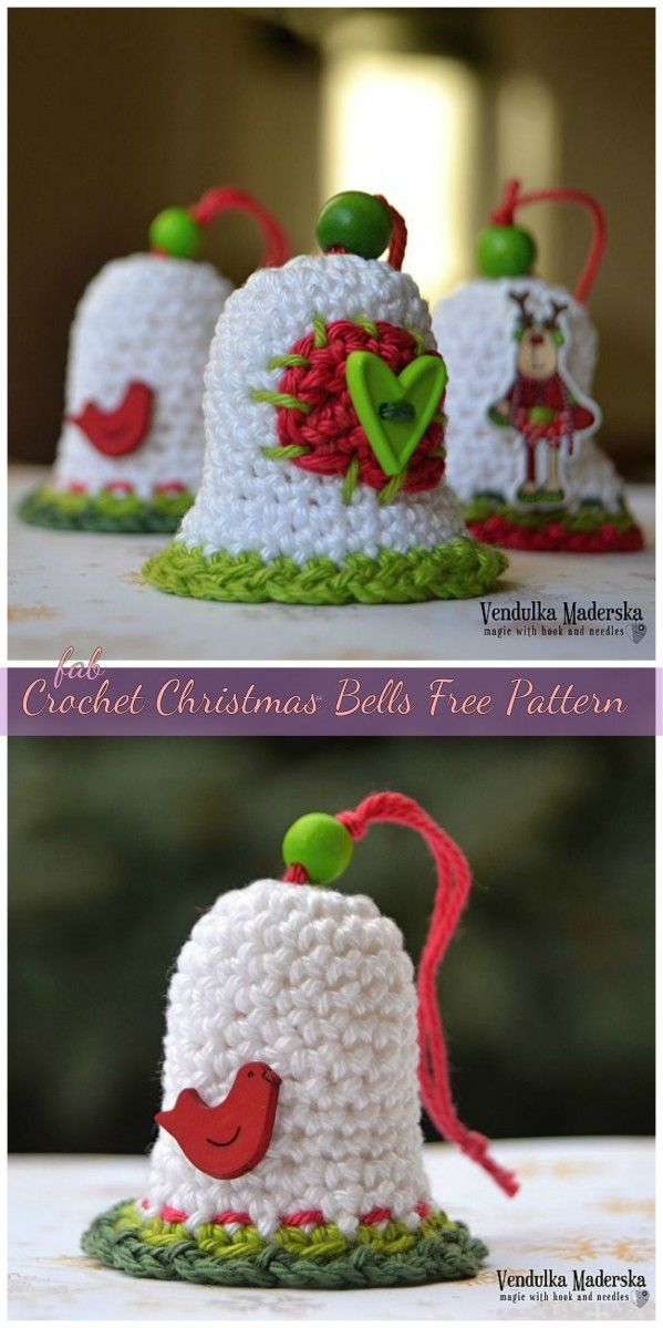 Crochet christmas bells ornaments free patterns video crochet crochet christmas bells free pattern dt1010fo