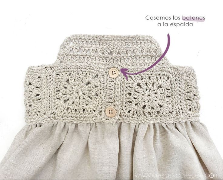 Granny Squares Baby Dress combined with Fabric  - Ganchillo -