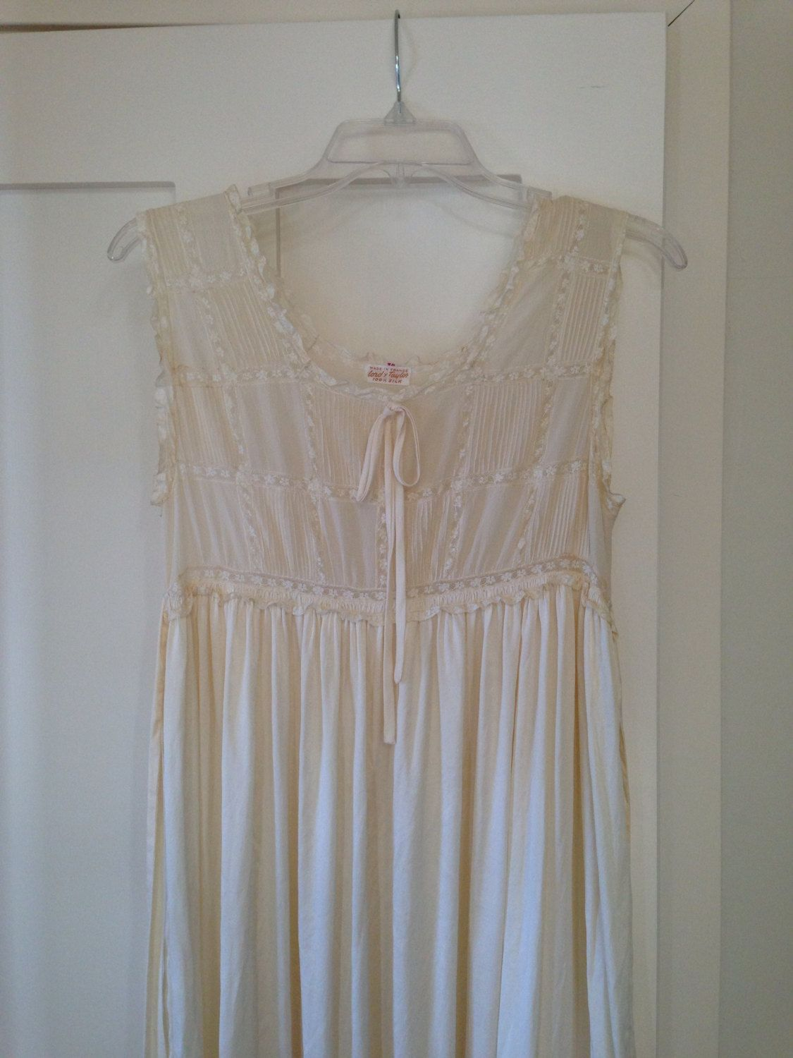 Vintage silk cream lace nightgown made in france for lord