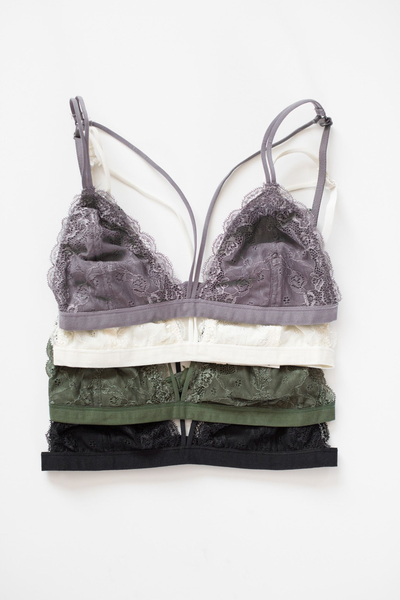 8330de75fe Delicate strappy lace bralette - Scalloped edges - Hook closure in back…