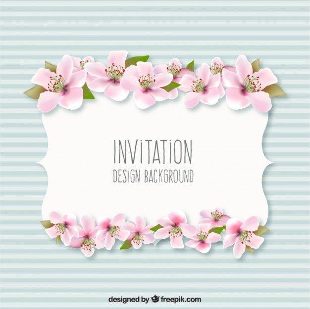 036b33509cf13 Fondo invitación con flores Vector Gratis
