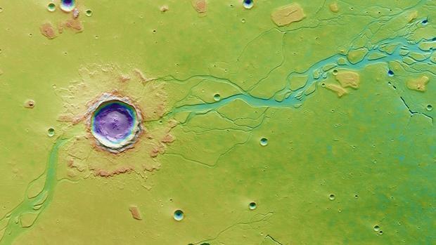 Un gran impacto sacó a la luz el hielo de agua del subsuelo de Marte y creó una inundación