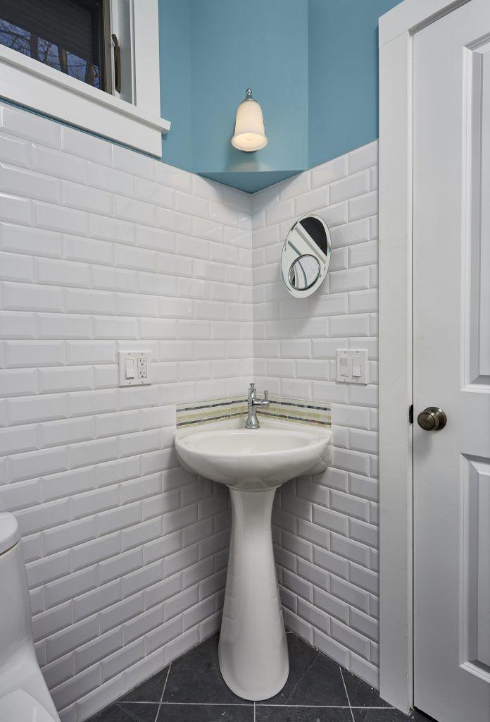 Corner pedestal sink with mosaic backsplash   Bathrooms   Pinterest ...