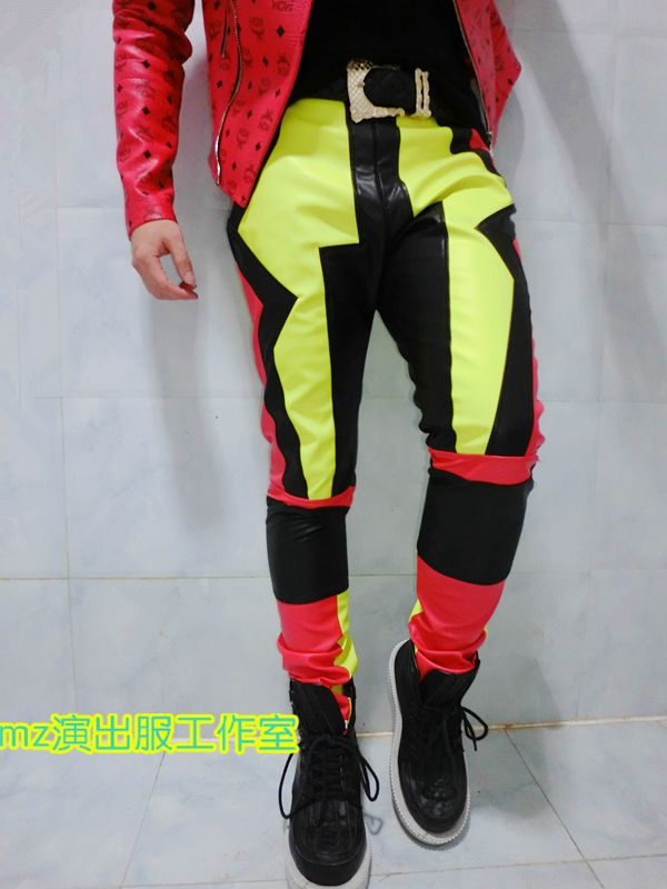 6a13b7a3 Cheap men leather pants, Buy Quality male trousers directly from China  leather men pants Suppliers: color Mens Leather Pants singer dacner bar  male trousers ...