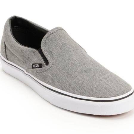 Vans Classic Grey \u0026 White Slip On Skate