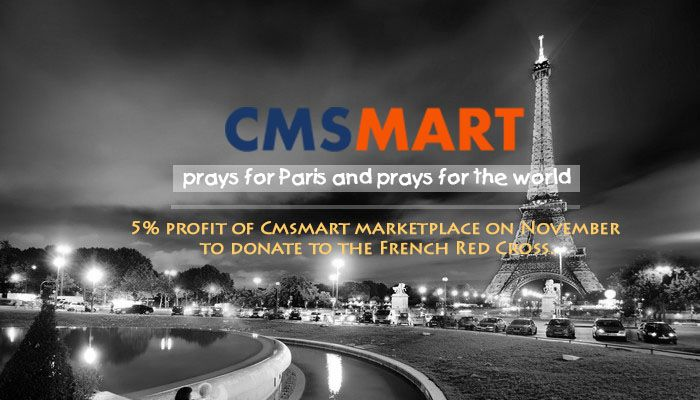 Dear our friends, Cmsmart's heart hurts not only for Paris but also for the world. And Cmsmart understands how much your caring about them and we are sympathetic with you. This time we pray for humanity and hope the world is better. Terrible event of Paris at night on 13 Nov 2015 that makes the life of many people change forever. And there is a one thing entirely depends on our decision: we have brave enough to live better, to continue dream an