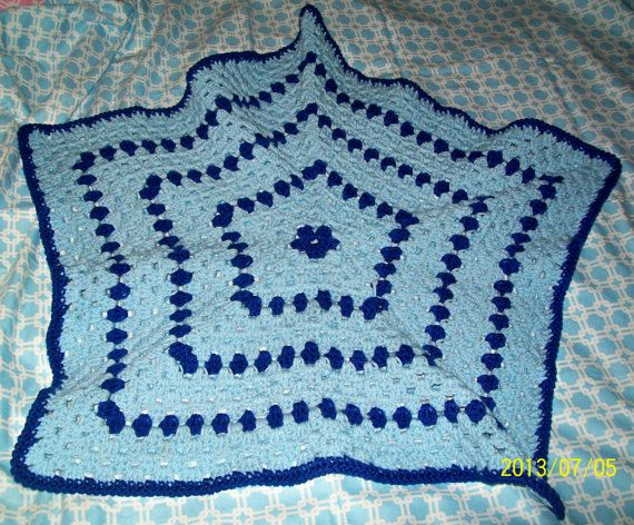 Recieving blanket baby and royal blue pentagon shape by dnjcrafts, $20.00