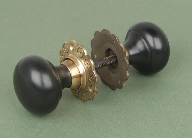 Solid Ebony Bun Knobs with Aged Brass Roseplate - Solid Ebony Bun Knobs With Aged Brass Roseplate Antique Door