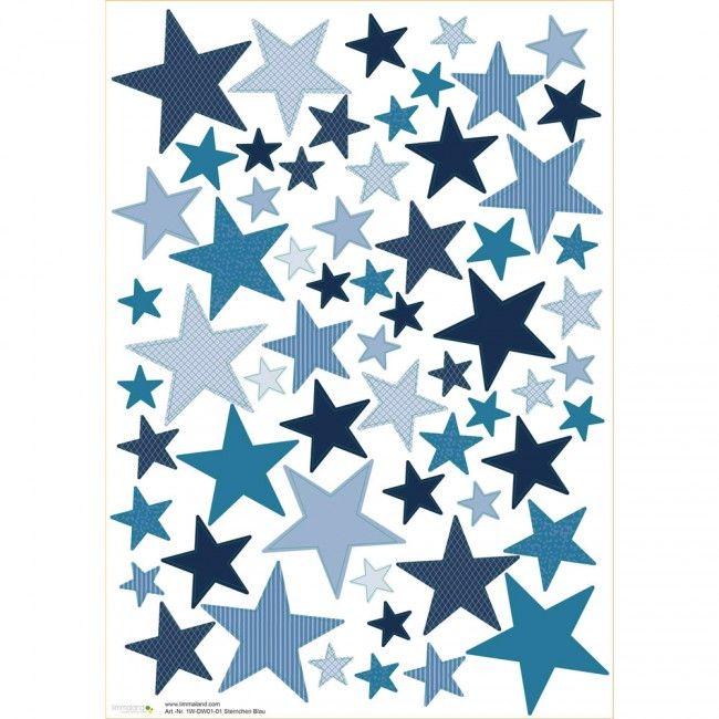 Wandtattoo sterne fuer das kinderzimmer blau 01 for Wandtattoo kinderzimmer sterne