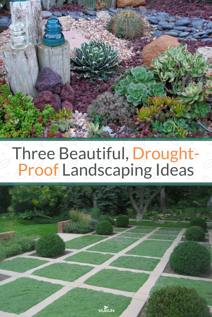 Three Beautiful Drought Proof Landscaping Ideas Backyard Landscaping Landscaping Backyard On A Budget Succulents Garden