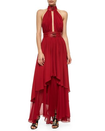 Take evening up a notch in this Tamara Mellon chiffon belted halter dress!