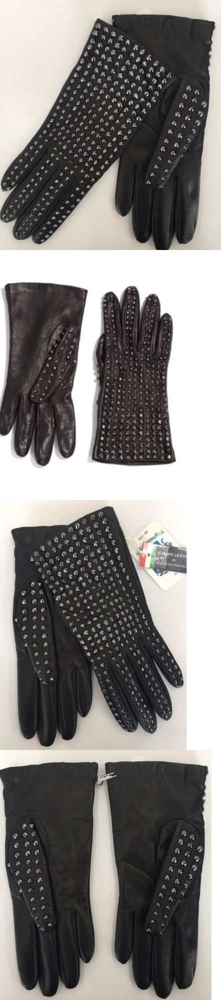Gloves and Mittens 105559: Nwt Authentic Portolano Studded Black Leather Cashmere Lined Gloves Sz 7 -> BUY IT NOW ONLY: $155 on eBay!