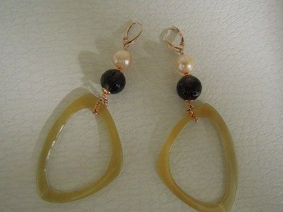horn and silver earrings with pearls and smoky quarz