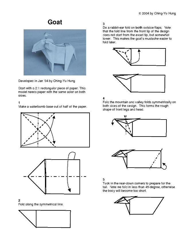 Origami Goat Instructions