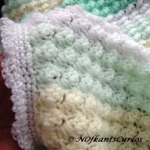 One Day Sale!  Vanilla & Mint Hand Crocheted Baby Pram, or Cot Blanket. £12.00