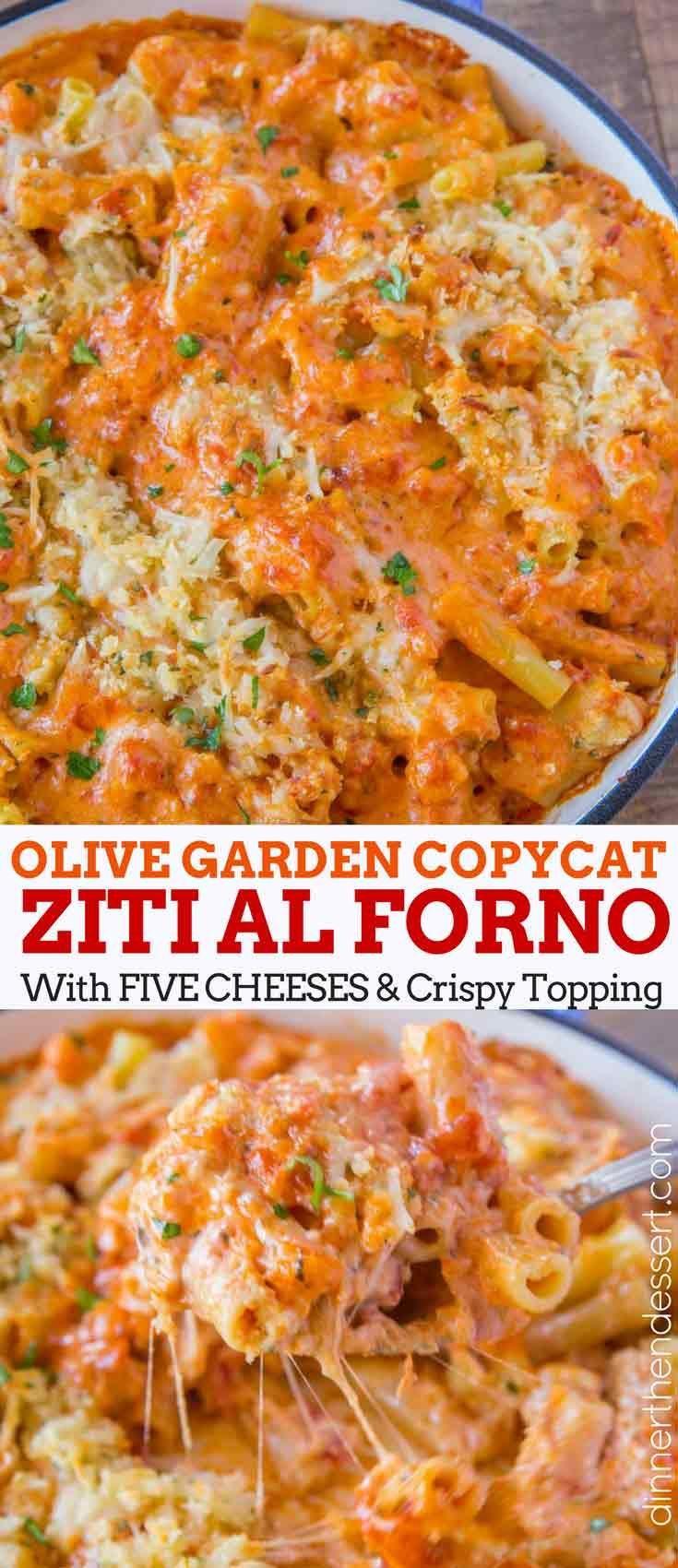 Olive Garden Five Cheese Ziti al Forno copycat recipe made with marinara, alfred... -  Olive Garden