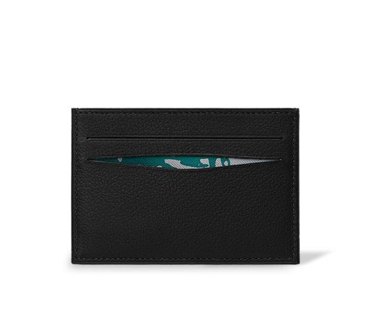 best loved f1c40 292cc Citizen Twill Hermes card holder in Evergrain calfskin, silk twill ...