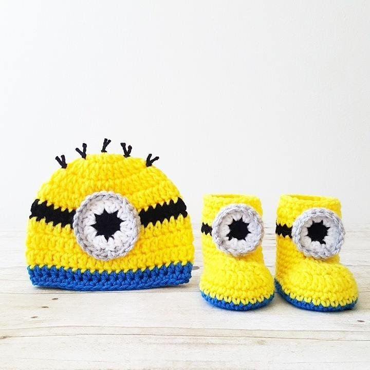 Crochet Baby Minion Hat Beanie Boots Slippers Shoes Set Newborn ...