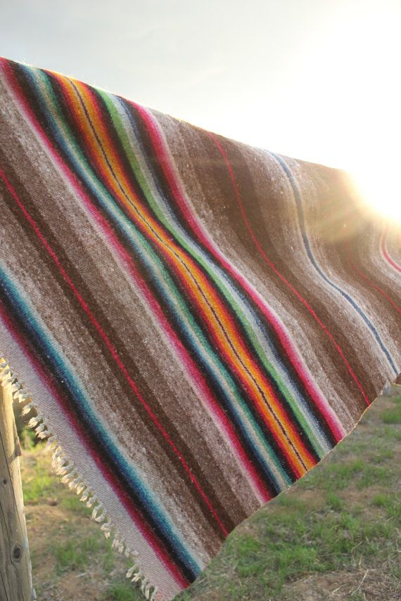 Vintage LARGE Banded Hand Woven Mexican Blanket Rug by Vdingy