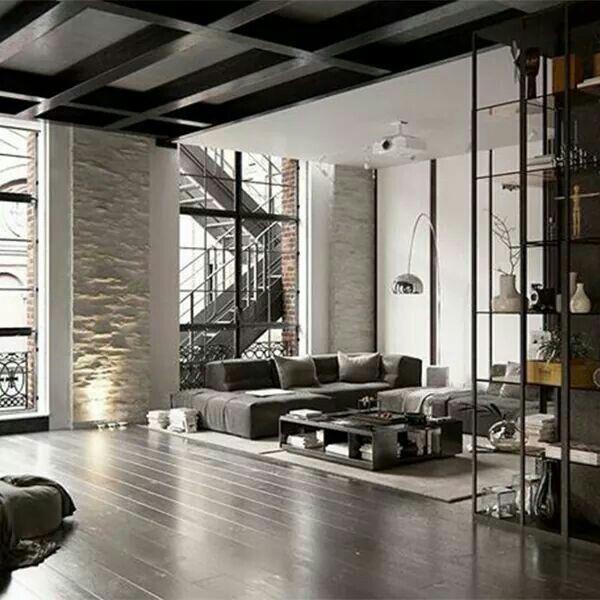 Moderne Inneneinrichtung, Dachgeschosswohnung, Hauswand, Living Room  Wohnzimmer, Modernes Wohnen, Einrichten Und Wohnen, Wohn Esszimmer,  Industriedesign, ...